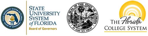 State University System logo, Florida State Seal, and the Florida College system logo