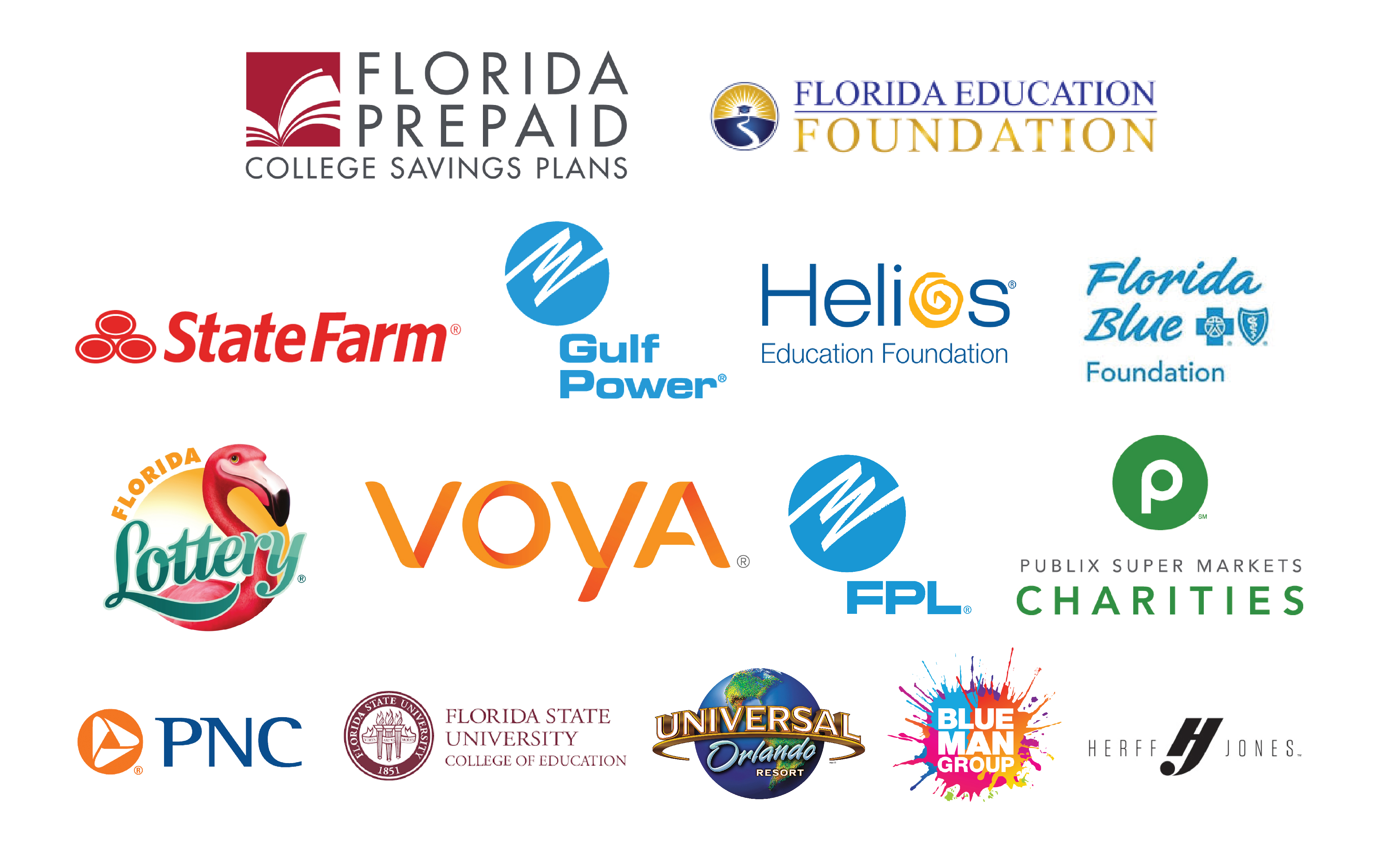 Recognition Sponsors: Florida Education Foundation, Florida Prepaid College Foundation, Wells Fargo, Florida Blue, State Farm, Florida Lottery, Helios Education Foundation, Florida Power and Light, Publix, Herff Jones, Universal Orlando